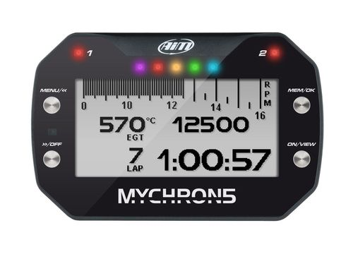 AIM MyChron5 S gauge + battery + charger + rpm-cable